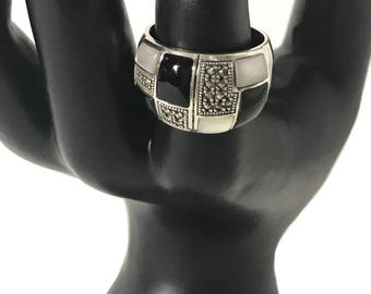Sterling Silver Ring -  Marcasite - Mother of Pearl - Onyx Inlay