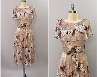 1970's R&K Originals sheer blush floral dress • large