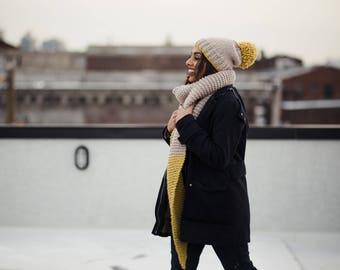 Chunky Knit Set, Oversized Scarf & Hat with Mega Pom l LEMON l