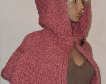 Hooded Cape in pink
