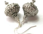 Silver Bali Bead Earrings - Sterling Silver Ear Wires - Handmade Earrings