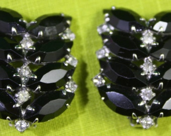 Vintage Pair of Individually prong set Marquise cut French jet and round cut crystal rhinestone clip on earrings  Free Shipping Domestic USA