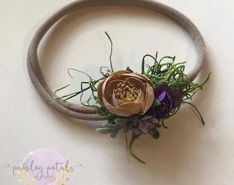 Moss headband- earthy headband- purple and tan headband- earthy newborn piece- newborn prop- earthy prop