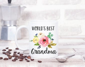 World's Best Grandma, Personalized Mug with Flowers