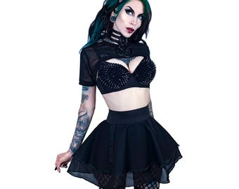DSF Sheer Flare Mini Skirt - Full Circle Cybergoth Bondage Kink Kinky Strap D ring Mesh Sexy Dom Sub Black Uber Goth