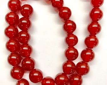 Red Agate round beads