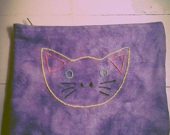 Happy Kitty Face Accessory or Makeup Bag