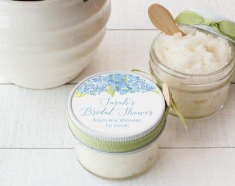 Set of 12- 4oz - Sugar Scrub Bridal Shower Favor - All-Natural, Vegan - Blue Hydrangea Floral Label | Blue Hydrangea label | Hydrangea Favor