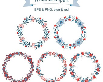 Designs of Wreath with Flowers for greeting card, digital card, clip art, printable, vector, instant download,round frame, eps, png