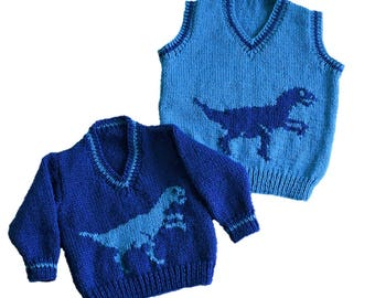 Knitting pattern for boys and girls dinosaur V-neck tops, Pdf instant download, Dinosaur Sweater, Children's double knitting jumper pattern
