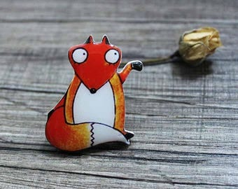 Fox gift for kids Birthday kids gift Fox brooch Fox pin Fox jewelry Animal jewelry Kids jewelry Girls jewelry Gift for niece Baby niece gift