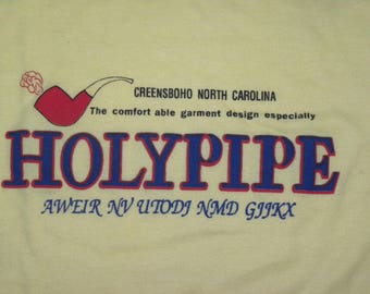 "1970s 80s North Carolina T-shirt / Greensboro NC / Holy Pipe weird Pipe shirt / 36 - 37"" Chest M"