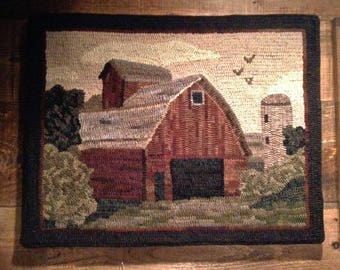 Pattern: Old Red Barn Rug Hooking Pattern by Cricket Street Wool