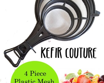 Collapsible Plastic Mesh Strainer 4 Piece Set For Kefir Kombucha