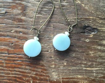 Blue Stone Coin and Freshwater Pearl Earrings