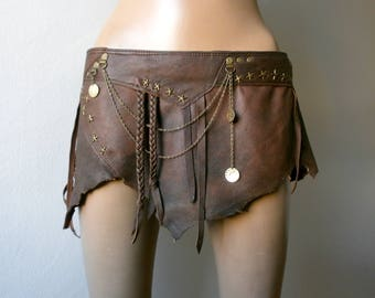Dream Warriors worn out brown leather mini skirt /loincloth. Burning Man festival fashion bellydance tribal fusion barbarian pixie costume