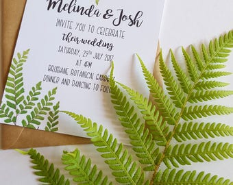 Fern Wedding Invitation/ Botanical Wedding Invitation