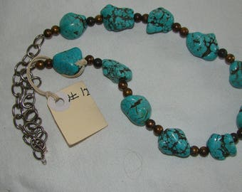 T-12 Native American Necklace, Silver ??, Turquoise stones