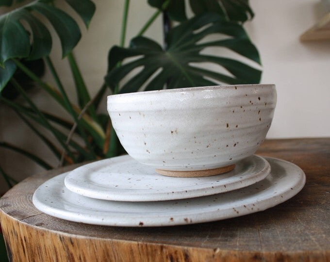 Dish Set - Dinner Plate + Salad Plate + Bowl - Made to Order - Ceramics and Pottery - Dinnerware - KJ Pottery