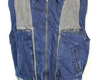 198os Denim Cut Off Grey Shearling Vest DEADSTOCK size m/l