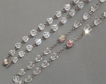 "Vintage LONG Crystal Chain ROSE Lampwork Venetian 32"" NECKLACE Murano Art Glass Beads, Rosary Style Faceted Crystals, Womens Wedding Jewelry"