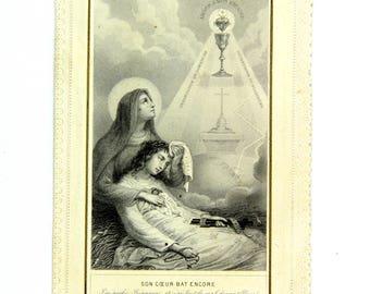 French canivet, Holy card, Devote dentelles, catholic 1890s catholic religious card