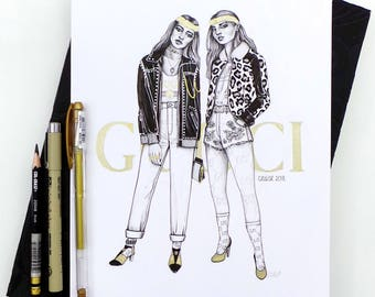 Gucci Cruise 2018 - Original Ink Drawing / Fashion Illustration / Ink Illustration