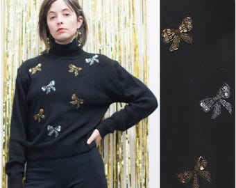1980s Black Silk Angora Turtleneck w Sequin Beaded Bows sz S / M