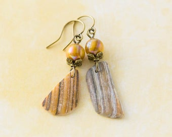 Earthy Outer Banks Shell Earrings with Mustard Yellow Beads, Leaf Bead Caps and Antique Brass, North Carolina Beach Jewelry