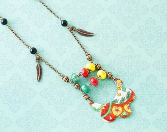 Colorful Boho Vintage Tin Necklace with Feather Charms and Antique Copper Chain, Ladder Necklace, Turquoise, Red and Yellow
