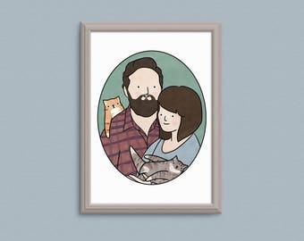 Custom Portrait, Couple Portrait, Family Portrait, Personalized Portrait, Personalised, Wedding Gift, Custom Illustration, Digital A5 A4 A3