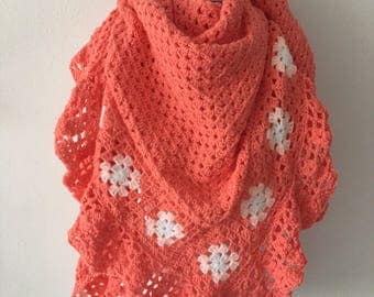 Handmade crochet shawl coral