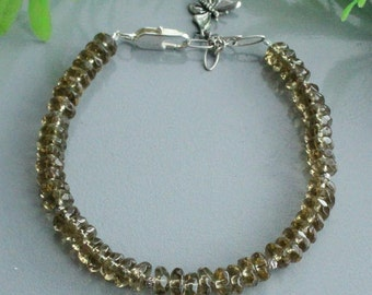 Smoky quartz bracelet , quartz bracelet, quartz silver, quartz sterling, silver bracelet, sterling bracelet