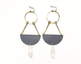 Quarter Moon Earrings with Quartz Crystals