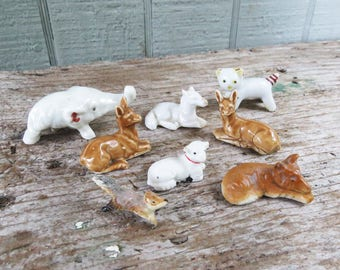 8 Miniature Animals - Fairy Garden - Doll House- 2 deer, elephant, cat, lamb, horse, fox, squirrel