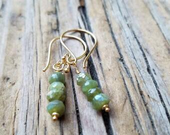 Mystic Vesuvianite Earrings and 24k Gold Vermeil, Pierced Earrings, Vesuvianite Jewelry, Green and Gold Earrings, Artisan Jewelry, Beachy