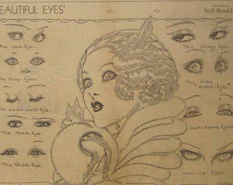 Original 1932 Newspaper Clipping - Beautiful Eyes By Nell Brinkley