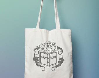 Book Lover Gift: Book Nerd Tote Bag, bibliophile, reader gift
