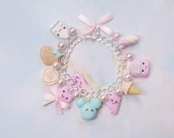 bracelet kawaii charms pastel polymer clay