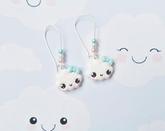 earrings kawaii cloud polymer clay