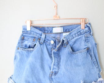 vintage 1980's distressed cut off levis 501 button fly  jean shorts 28 *