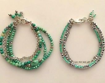 Chrysoprase and Silver Multistrand Bracelets