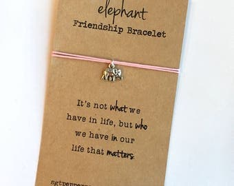 Elephant Friendship Bracelet ~ Silver Charm ~ Waxed Cotton Cord ~It's not what we have in life  ~ Wish Bracelet -Adjustable