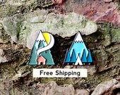Tent and Cottage Enamel Pin Lapel Badge Set 2 x Camping Mountain Forest Trees Adventure Pin by OR8 DESIGN