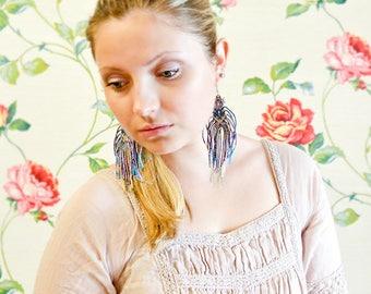 Bohemian fringes, extra long earrings, tribal, free spirit, boho chic, unique micro-macrame jewelry, dangle beaded tassels, pale blue beige