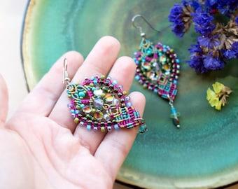 Beaded earrings, India inspired, colorful, boho chic, micro-macrame jewelry, beadwork, beadwoven, turquoise blue magenta olive, yoga jewelry