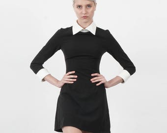 Wednesday Addams Halloween Dress Costume Black dress with White Round or Square Collar