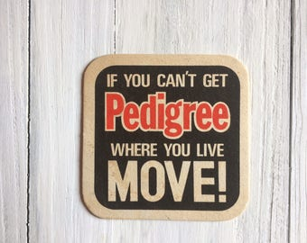 PEDIGREE Drinks Coaster Genuine 1980s BEER MAT from a British Pub Great Gift For Him or your Retro Home Bar