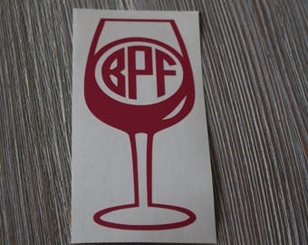 Wine Monogram Car Decal - Monogram Wine Car Decal - Monogram Car Decal - Monogram Decal - Car Decal - Wine Decal - Wine Lover Decal - Wine