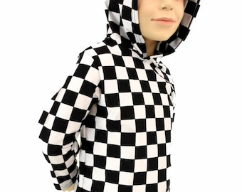 Childrens Black & White Checkered Print Long Sleeve Spandex Hoodie w/Self-Lined Hood Kids Sizes 2T 3T 4T and 5-12 - 155045